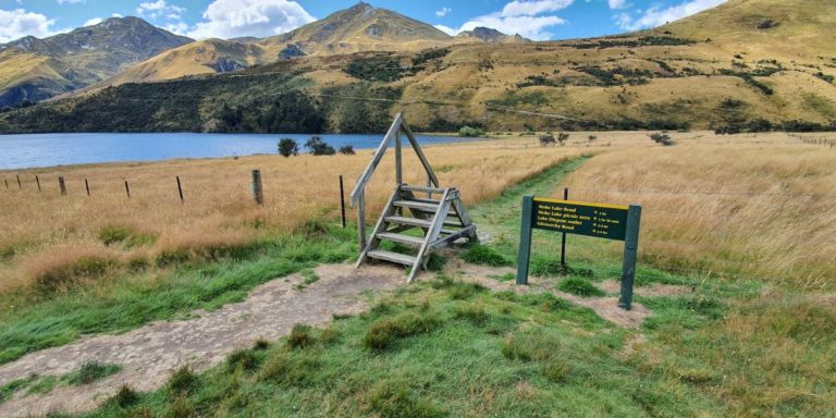 Boardwalk and styles to climb at Moke Lake Queenstown - Copyright Freewalks NZ