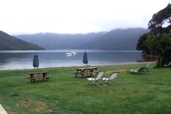 Queen Charlotte Track - Point 13 - Waters edge at our accommodation at Mahana Lodge - Copyright Freewalks.nz