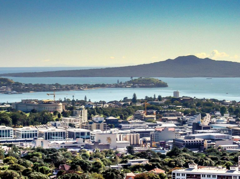 Looking out to, Auckland City, Devonport, Rangitoto Island from Mt Eden summit