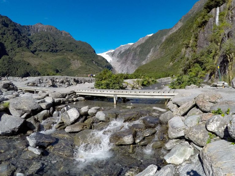 The one and only bridge crossing the Waiho River to Franz Josef Glacier