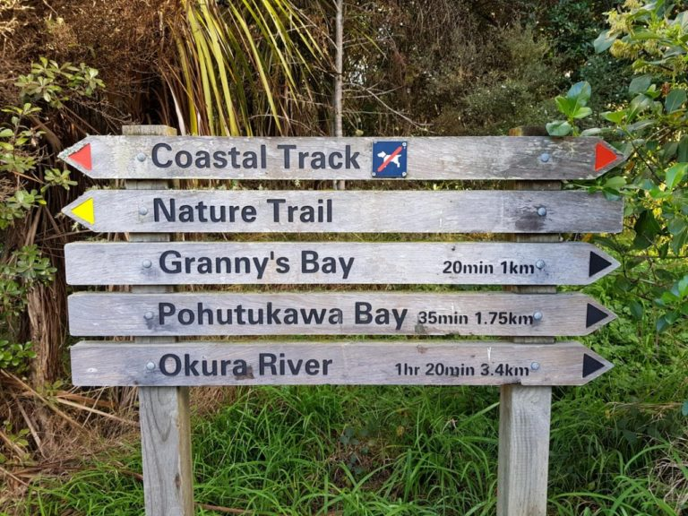 Sign at the start of the Long Bay Regional Park coastal track