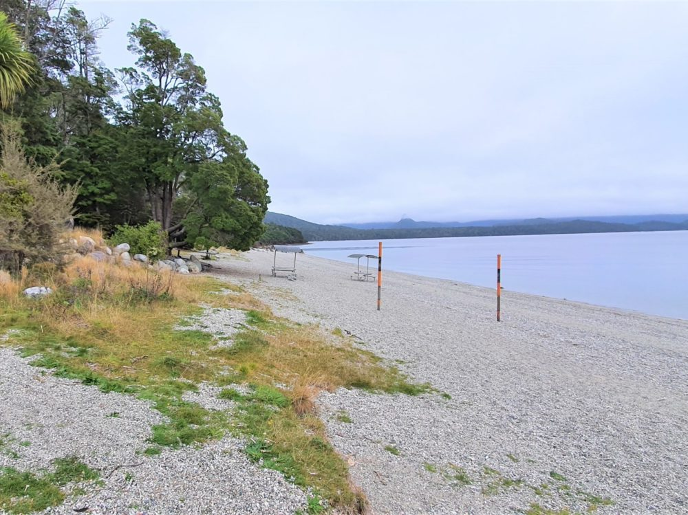 Fraser Beach Track in Manapouri, South Island - View walking down the beach
