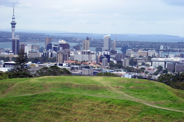 Views from Mt Eden Summit walk with city and Sky Tower in Auckland